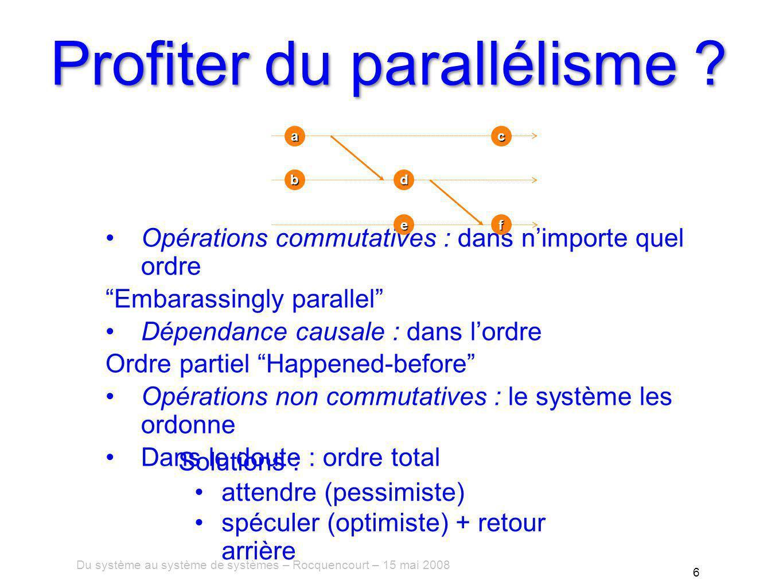 Du système au système de systèmes – Rocquencourt – 15 mai 2008 6 Profiter du parallélisme .