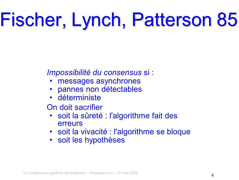 Du système au système de systèmes – Rocquencourt – 15 mai 2008 8 Fischer, Lynch, Patterson 85 Impossibilité du consensus si : messages asynchrones pannes non détectables déterministe On doit sacrifier soit la sûreté : l algorithme fait des erreurs soit la vivacité : l algorithme se bloque soit les hypothèses