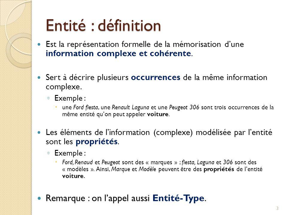 3 Est la représentation formelle de la mémorisation dune information complexe et cohérente. Sert à décrire plusieurs occurrences de la même informatio
