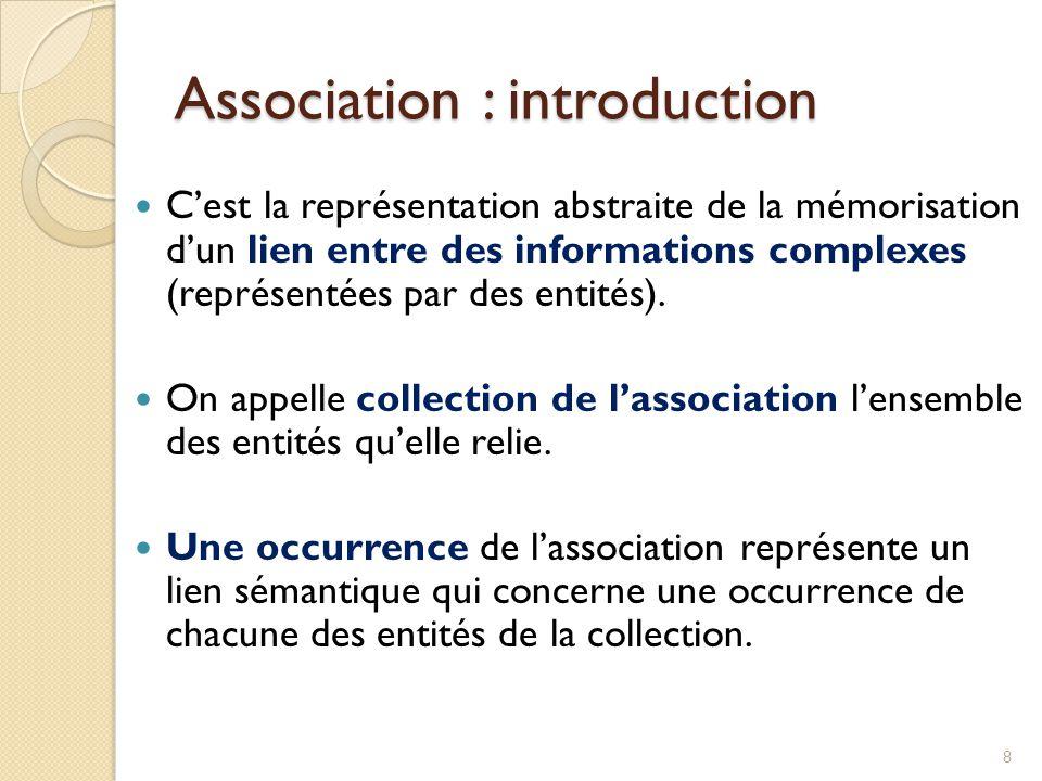 8 Cest la représentation abstraite de la mémorisation dun lien entre des informations complexes (représentées par des entités). On appelle collection