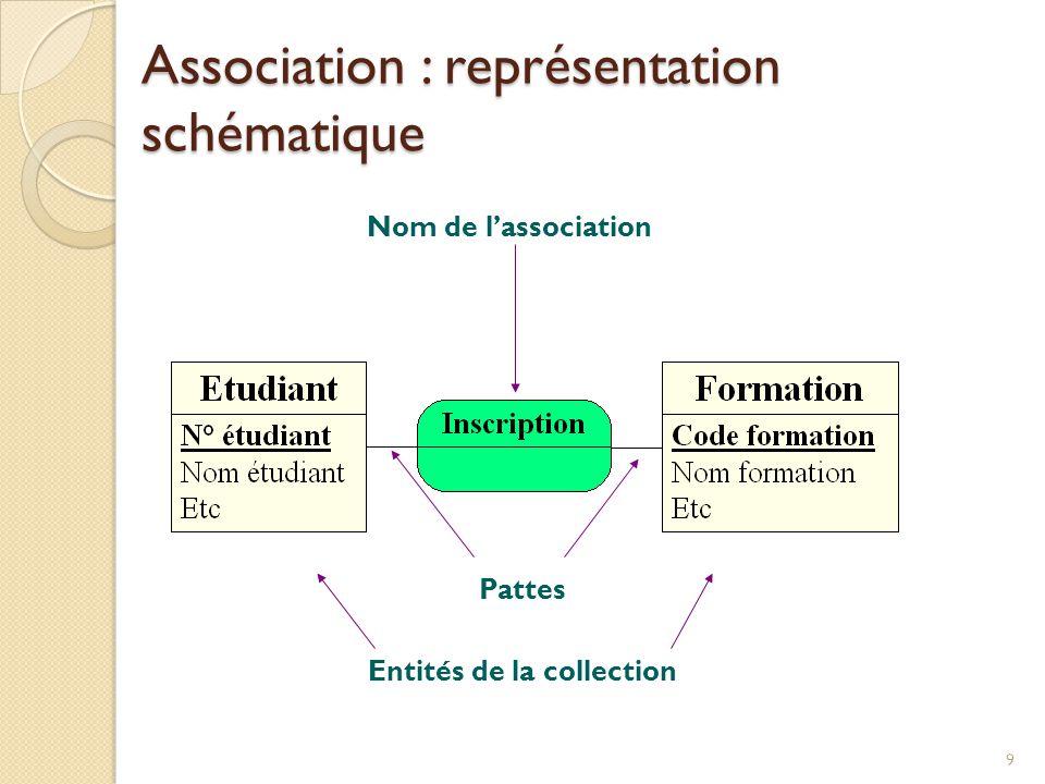 9 Entités de la collection Nom de lassociation Pattes Association : représentation schématique