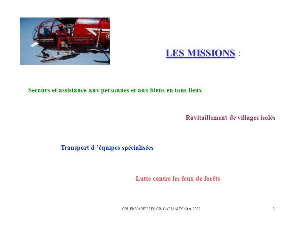 CPL Ph.VAREILLES CIS CARMAUX Mars 20022 LES MISSIONS LES MISSIONS : Secours et assistance aux personnes et aux biens en tous lieux Ravitaillement de v