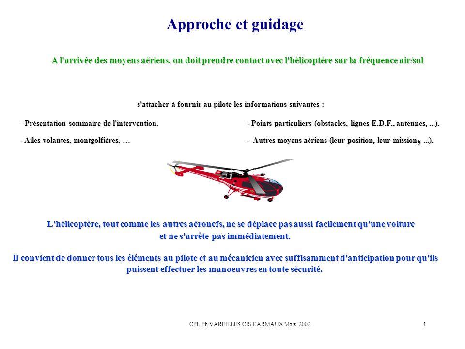 CPL Ph.VAREILLES CIS CARMAUX Mars 20024 Approche et guidage A l'arrivée des moyens aériens, on doit prendre contact avec l'hélicoptère sur la fréquenc