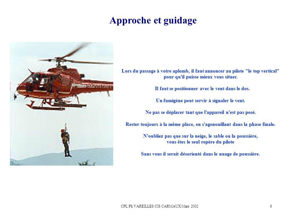 CPL Ph.VAREILLES CIS CARMAUX Mars 20026 Approche et guidage Lors du passage à votre aplomb, il faut annoncer au pilote