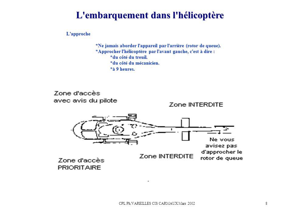 CPL Ph.VAREILLES CIS CARMAUX Mars 20028 L'embarquement dans l'hélicoptère L'approche *Ne jamais aborder l'appareil par l'arrière (rotor de queue). *Ap