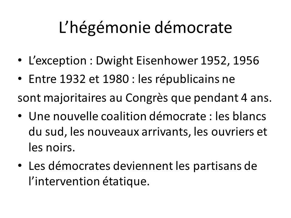 Lhégémonie démocrate Lexception : Dwight Eisenhower 1952, 1956 Entre 1932 et 1980 : les républicains ne sont majoritaires au Congrès que pendant 4 ans.