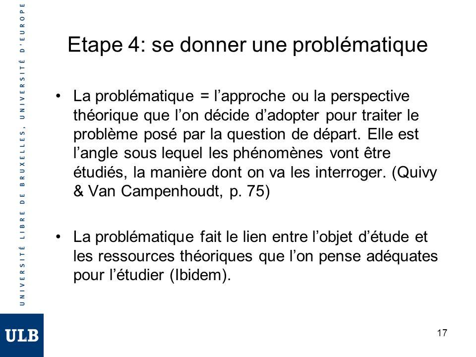 17 Etape 4: se donner une problématique La problématique = lapproche ou la perspective théorique que lon décide dadopter pour traiter le problème posé par la question de départ.