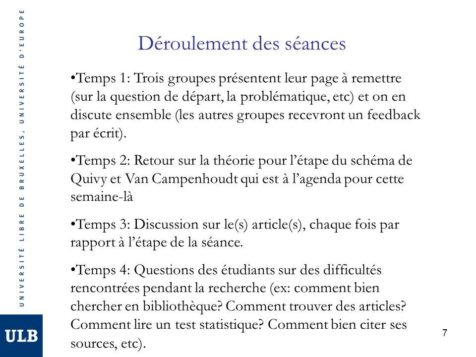 7 Déroulement des séances Temps 1: Trois groupes présentent leur page à remettre (sur la question de départ, la problématique, etc) et on en discute ensemble (les autres groupes recevront un feedback par écrit).