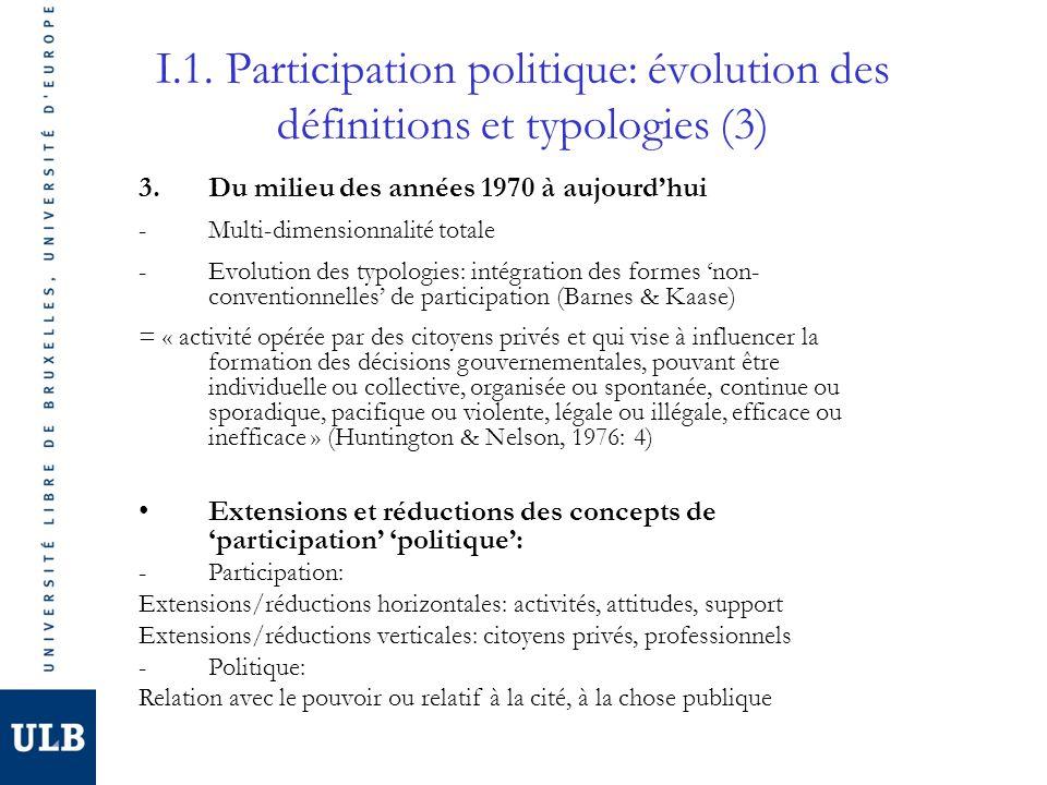 I.1. Participation politique: évolution des définitions et typologies (3) 3.Du milieu des années 1970 à aujourdhui -Multi-dimensionnalité totale -Evol