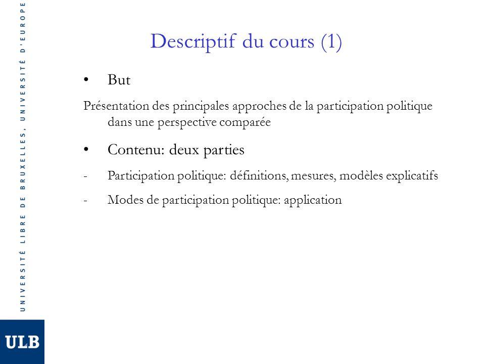 Descriptif du cours (1) But Présentation des principales approches de la participation politique dans une perspective comparée Contenu: deux parties -Participation politique: définitions, mesures, modèles explicatifs -Modes de participation politique: application