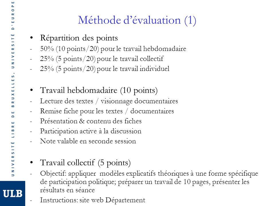 Méthode dévaluation (1) Répartition des points -50% (10 points/20) pour le travail hebdomadaire -25% (5 points/20) pour le travail collectif -25% (5 points/20) pour le travail individuel Travail hebdomadaire (10 points) -Lecture des textes / visionnage documentaires -Remise fiche pour les textes / documentaires -Présentation & contenu des fiches -Participation active à la discussion -Note valable en seconde session Travail collectif (5 points) -Objectif: appliquer modèles explicatifs théoriques à une forme spécifique de participation politique; préparer un travail de 10 pages, présenter les résultats en séance -Instructions: site web Département