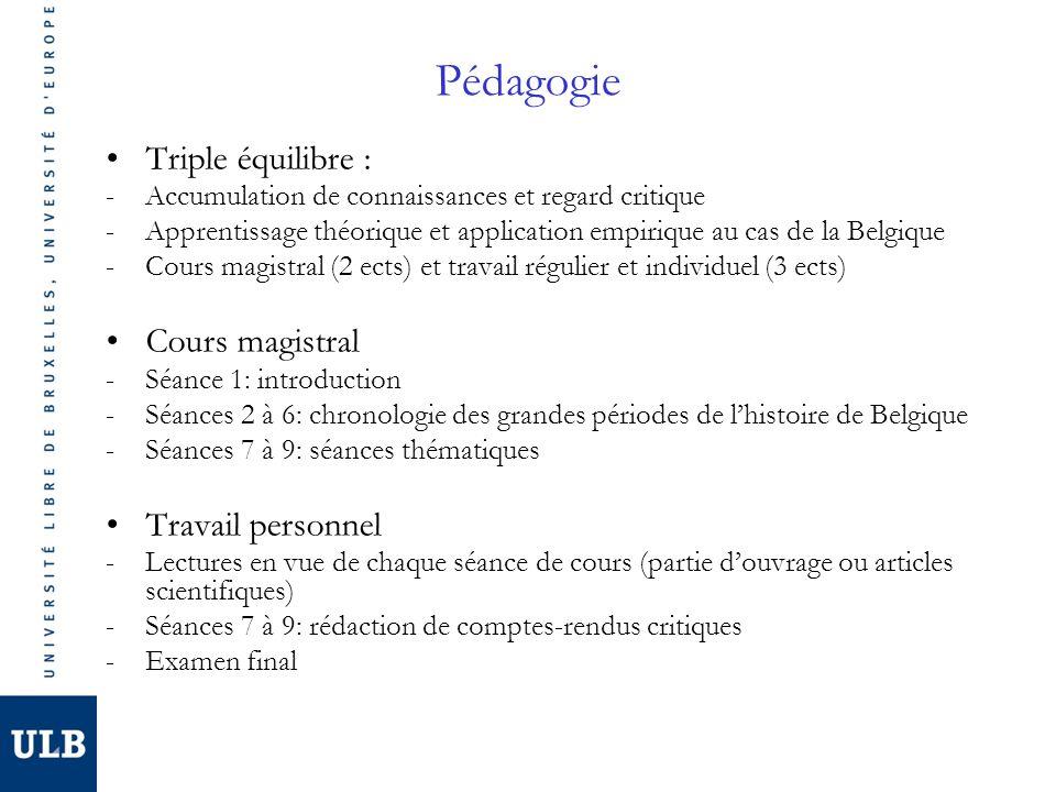 Pédagogie Triple équilibre : -Accumulation de connaissances et regard critique -Apprentissage théorique et application empirique au cas de la Belgique -Cours magistral (2 ects) et travail régulier et individuel (3 ects) Cours magistral -Séance 1: introduction -Séances 2 à 6: chronologie des grandes périodes de lhistoire de Belgique -Séances 7 à 9: séances thématiques Travail personnel -Lectures en vue de chaque séance de cours (partie douvrage ou articles scientifiques) -Séances 7 à 9: rédaction de comptes-rendus critiques -Examen final