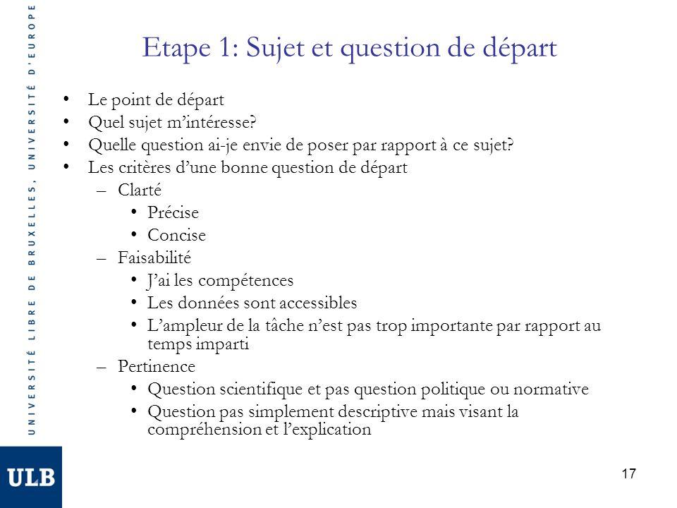 17 Etape 1: Sujet et question de départ Le point de départ Quel sujet mintéresse? Quelle question ai-je envie de poser par rapport à ce sujet? Les cri