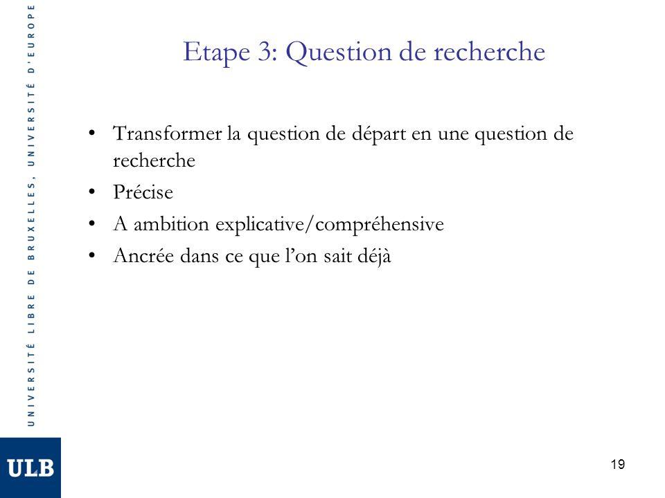 19 Etape 3: Question de recherche Transformer la question de départ en une question de recherche Précise A ambition explicative/compréhensive Ancrée dans ce que lon sait déjà