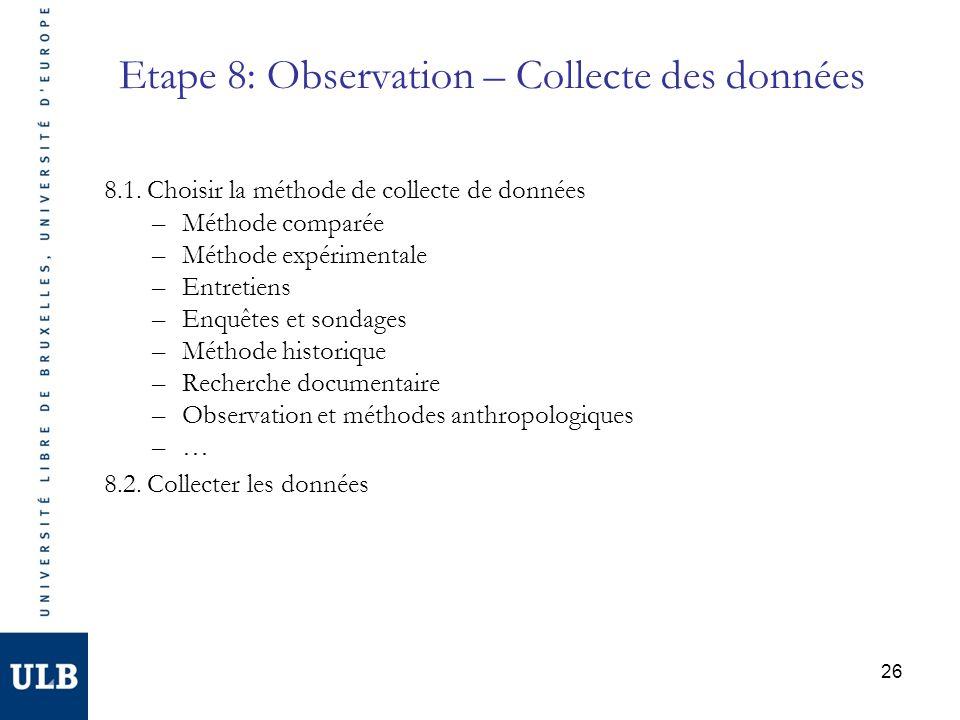 Etape 8: Observation – Collecte des données 8.1. Choisir la méthode de collecte de données –Méthode comparée –Méthode expérimentale –Entretiens –Enquê