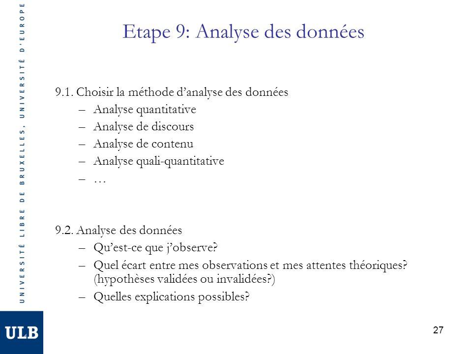 Etape 9: Analyse des données 9.1.