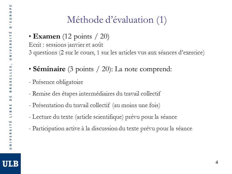 4 Méthode dévaluation (1) Examen (12 points / 20) Ecrit : sessions janvier et août 3 questions (2 sur le cours, 1 sur les articles vus aux séances dex