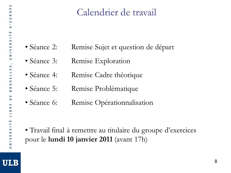 8 Calendrier de travail Séance 2: Remise Sujet et question de départ Séance 3:Remise Exploration Séance 4:Remise Cadre théorique Séance 5:Remise Probl