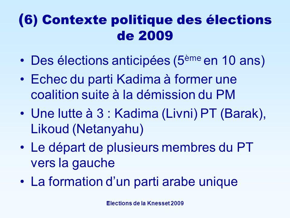 Elections de la Knesset 2009 ( 6) Contexte politique des élections de 2009 Des élections anticipées (5 ème en 10 ans) Echec du parti Kadima à former une coalition suite à la démission du PM Une lutte à 3 : Kadima (Livni) PT (Barak), Likoud (Netanyahu) Le départ de plusieurs membres du PT vers la gauche La formation dun parti arabe unique