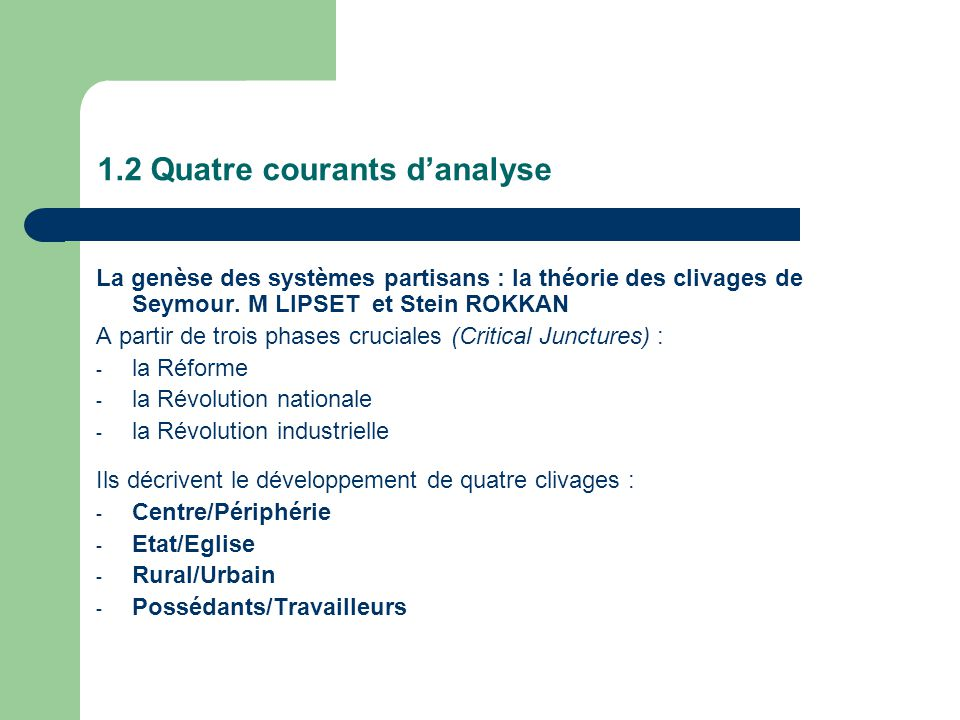 1.2 Quatre courants danalyse La genèse des systèmes partisans : la théorie des clivages de Seymour.