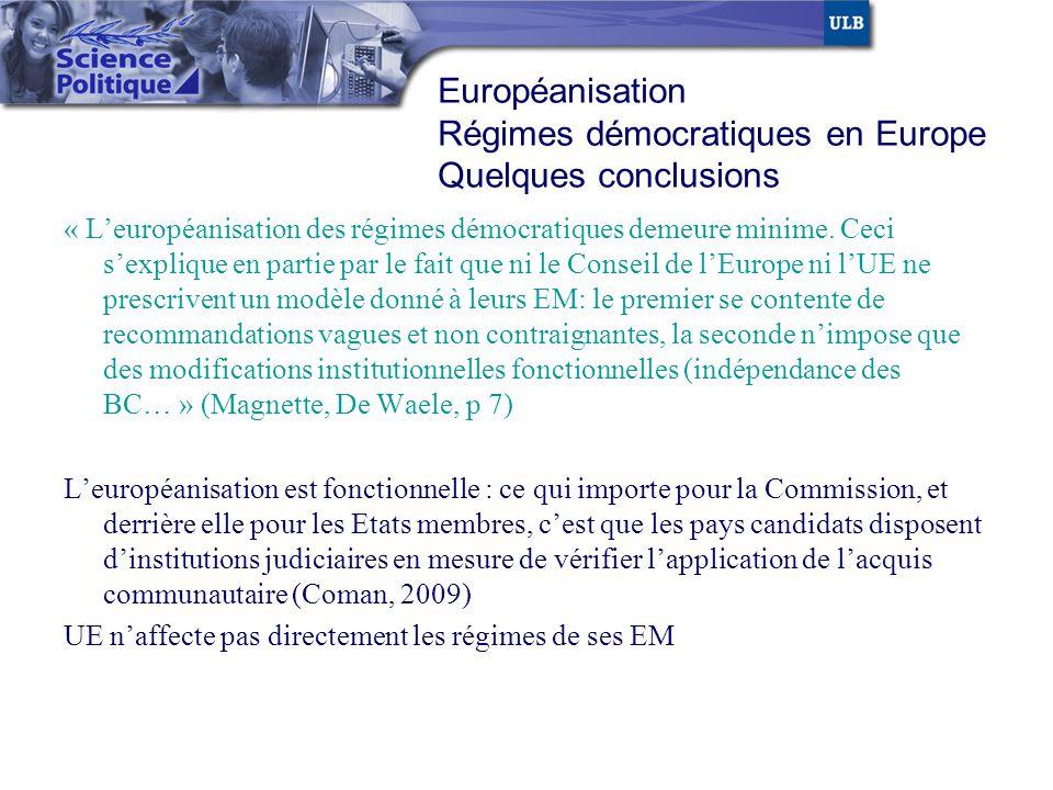 « Leuropéanisation des régimes démocratiques demeure minime. Ceci sexplique en partie par le fait que ni le Conseil de lEurope ni lUE ne prescrivent u