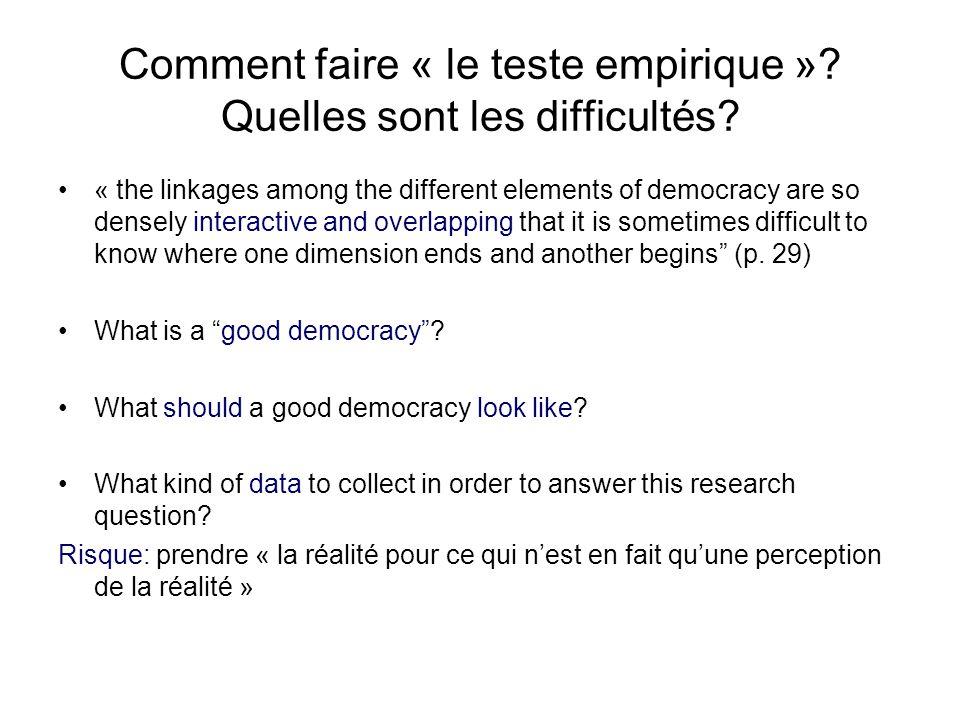 Comment faire « le teste empirique »? Quelles sont les difficultés? « the linkages among the different elements of democracy are so densely interactiv