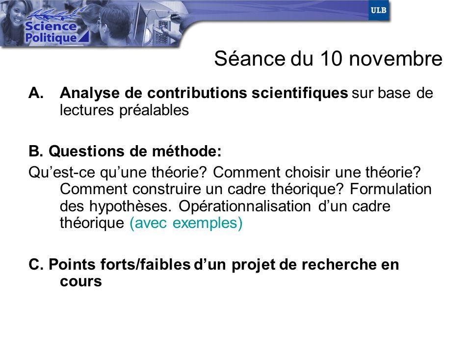 Séance du 10 novembre A.Analyse de contributions scientifiques sur base de lectures préalables B. Questions de méthode: Quest-ce quune théorie? Commen