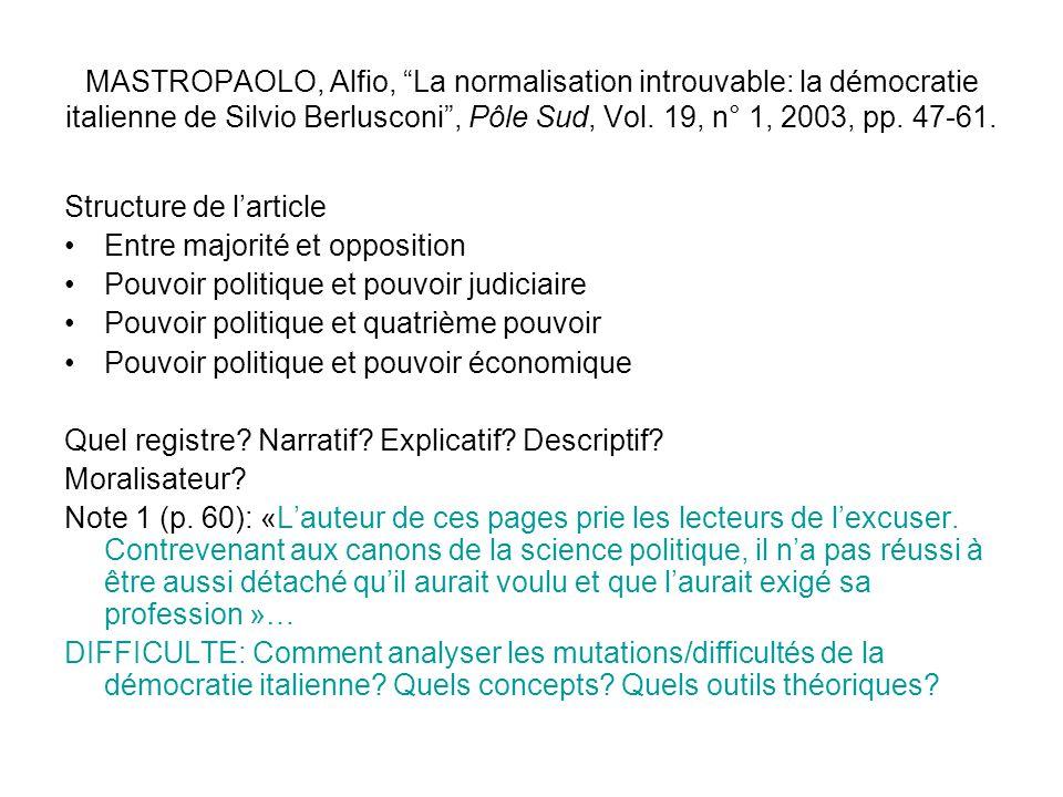 MASTROPAOLO, Alfio, La normalisation introuvable: la démocratie italienne de Silvio Berlusconi, Pôle Sud, Vol. 19, n° 1, 2003, pp. 47-61. Structure de