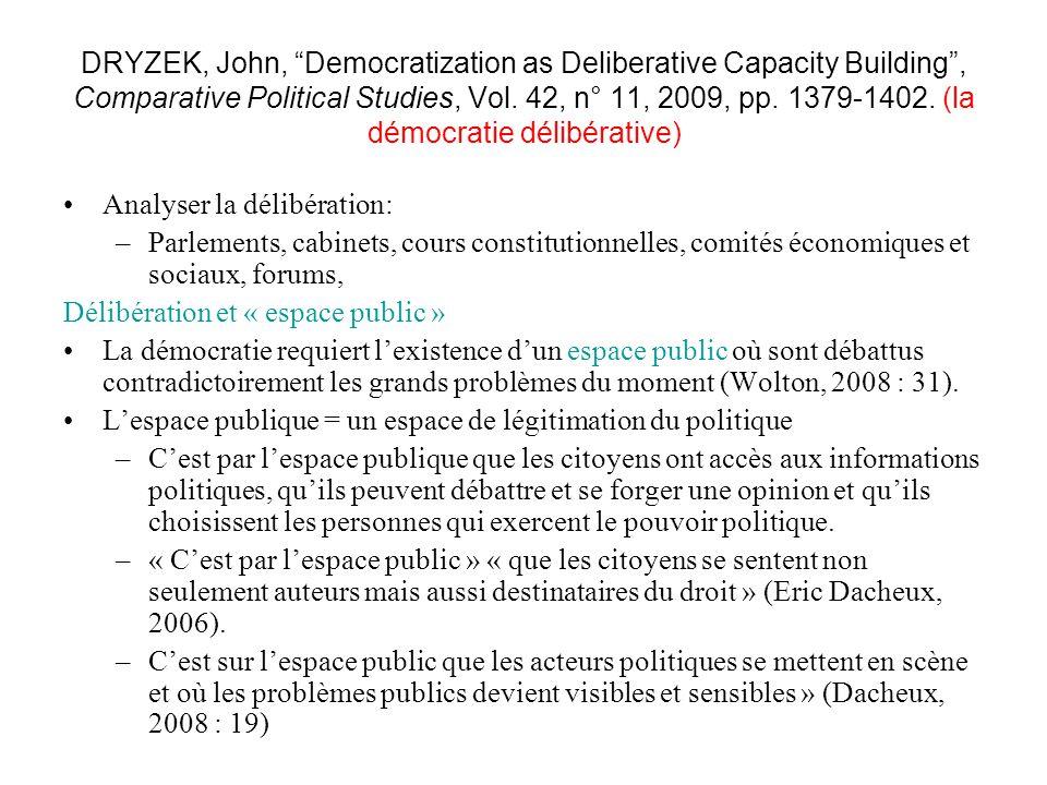 DRYZEK, John, Democratization as Deliberative Capacity Building, Comparative Political Studies, Vol. 42, n° 11, 2009, pp. 1379-1402. (la démocratie dé