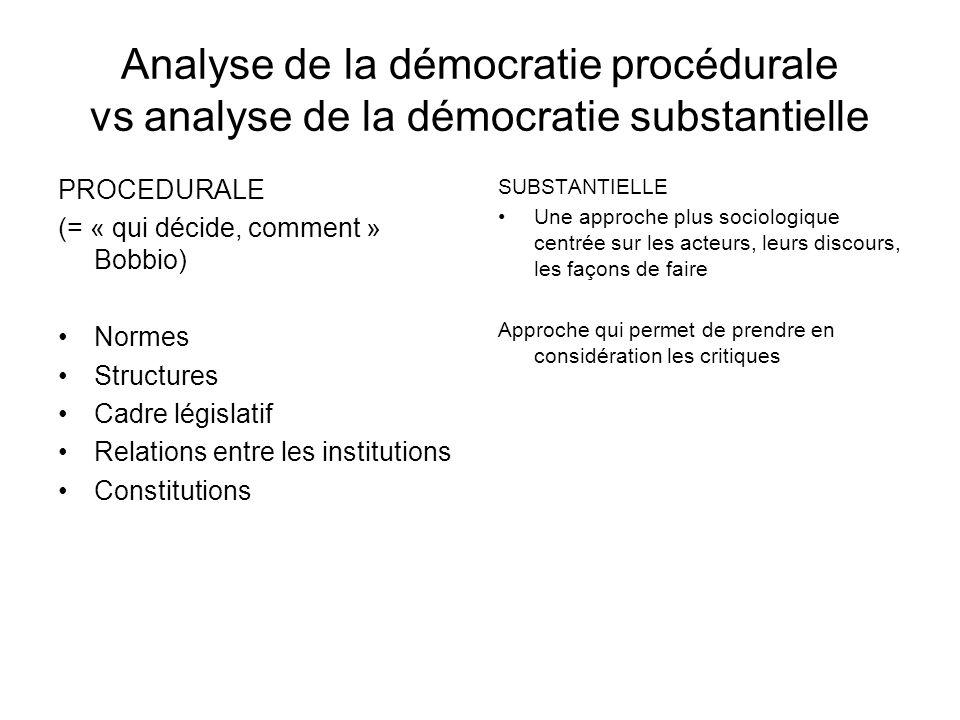 Analyse de la démocratie procédurale vs analyse de la démocratie substantielle PROCEDURALE (= « qui décide, comment » Bobbio) Normes Structures Cadre