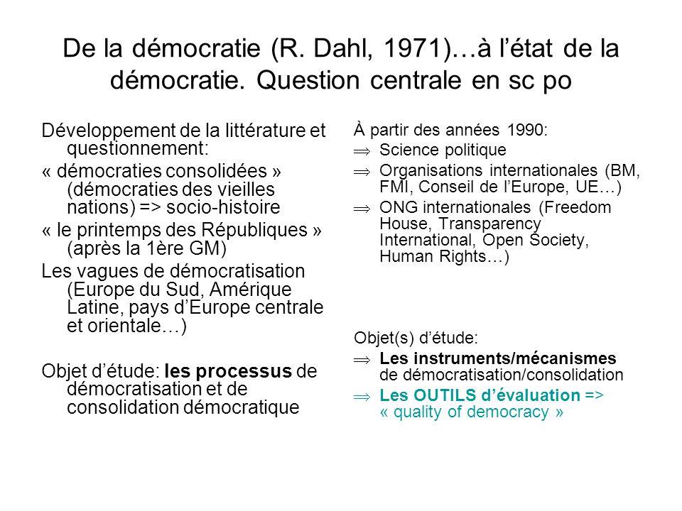 De la démocratie (R. Dahl, 1971)…à létat de la démocratie. Question centrale en sc po Développement de la littérature et questionnement: « démocraties
