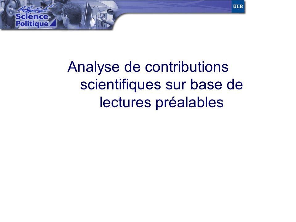 Analyse de contributions scientifiques sur base de lectures préalables