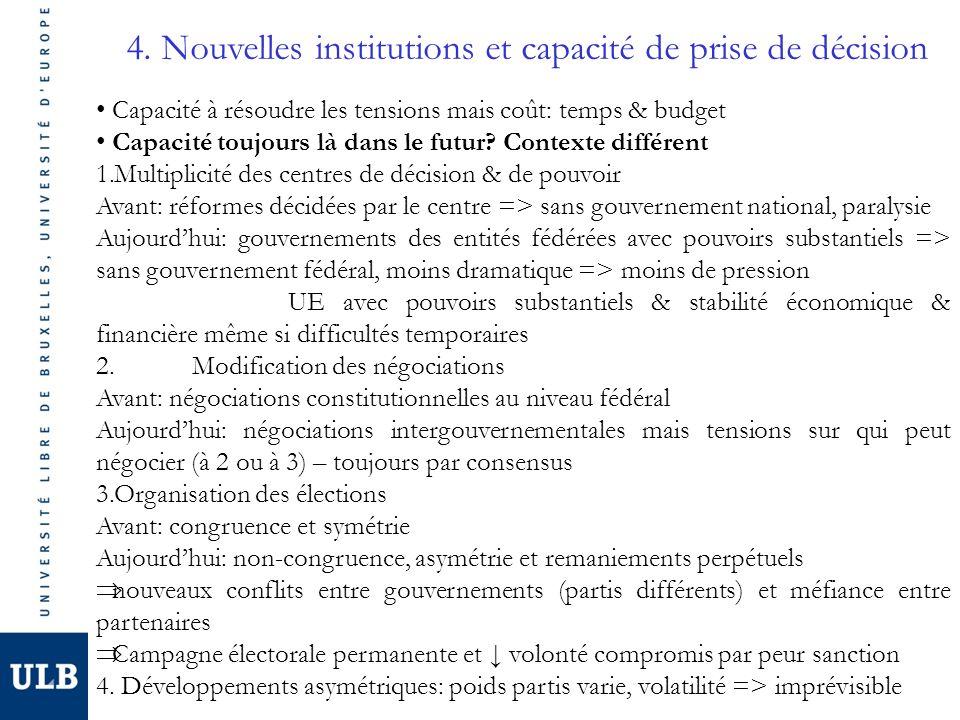 4. Nouvelles institutions et capacité de prise de décision Capacité à résoudre les tensions mais coût: temps & budget Capacité toujours là dans le fut