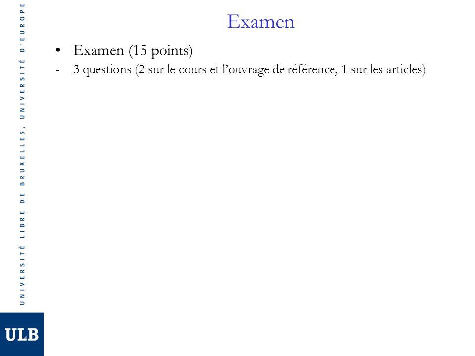 Examen Examen (15 points) -3 questions (2 sur le cours et louvrage de référence, 1 sur les articles)