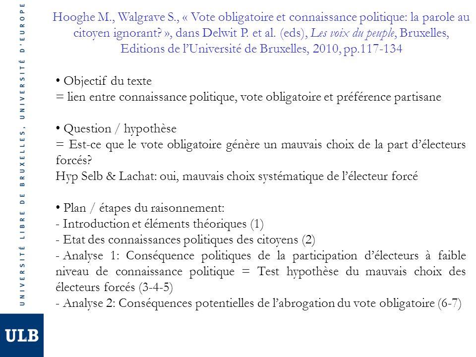 Hooghe M., Walgrave S., « Vote obligatoire et connaissance politique: la parole au citoyen ignorant.