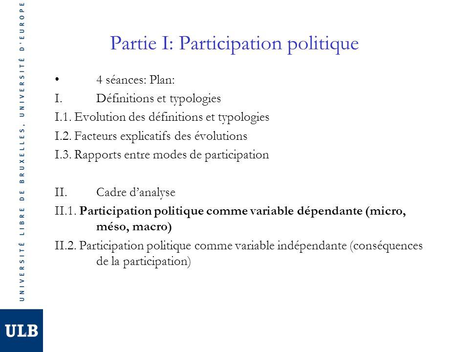 Partie I: Participation politique 4 séances: Plan: I.Définitions et typologies I.1. Evolution des définitions et typologies I.2. Facteurs explicatifs
