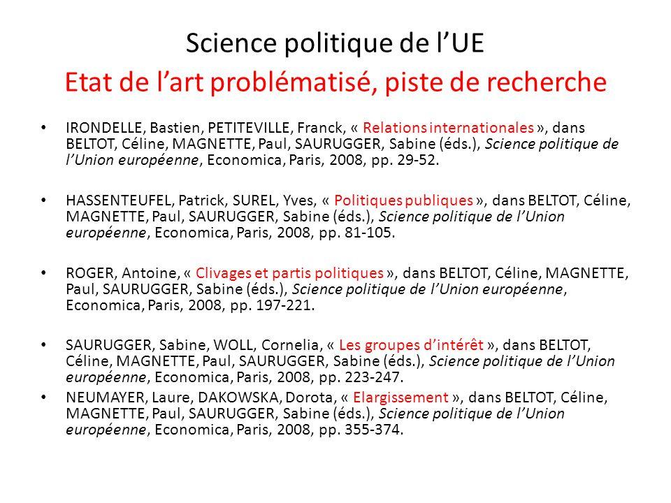 Science politique de lUE Etat de lart problématisé, piste de recherche IRONDELLE, Bastien, PETITEVILLE, Franck, « Relations internationales », dans BE
