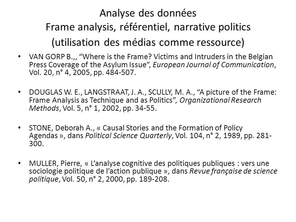 Analyse des données Frame analysis, référentiel, narrative politics (utilisation des médias comme ressource) VAN GORP B.,, Where is the Frame? Victims