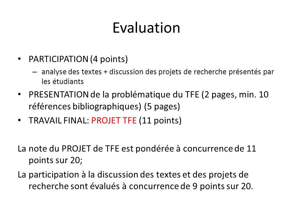 Evaluation PARTICIPATION (4 points) – analyse des textes + discussion des projets de recherche présentés par les étudiants PRESENTATION de la probléma