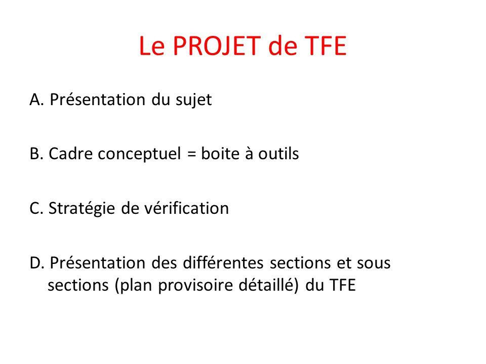 Le PROJET de TFE A. Présentation du sujet B. Cadre conceptuel = boite à outils C. Stratégie de vérification D. Présentation des différentes sections e