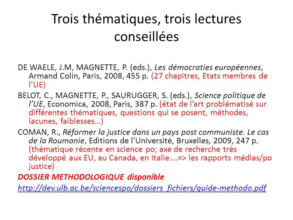 Trois thématiques, trois lectures conseillées DE WAELE, J.M, MAGNETTE, P. (eds.), Les démocraties européennes, Armand Colin, Paris, 2008, 455 p. (27 c