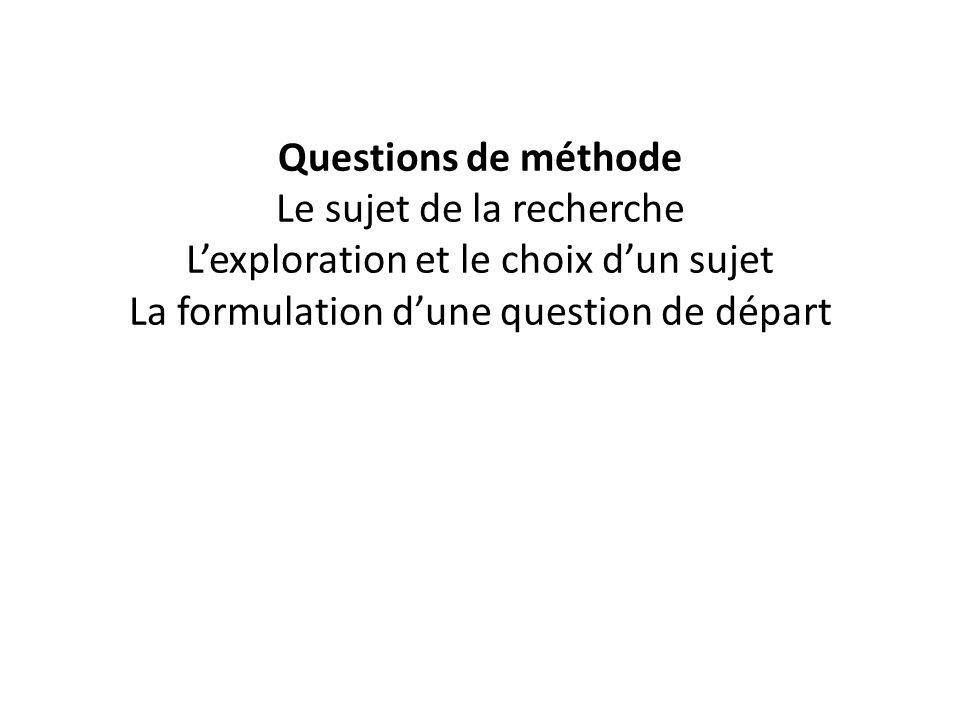 Questions de méthode Le sujet de la recherche Lexploration et le choix dun sujet La formulation dune question de départ