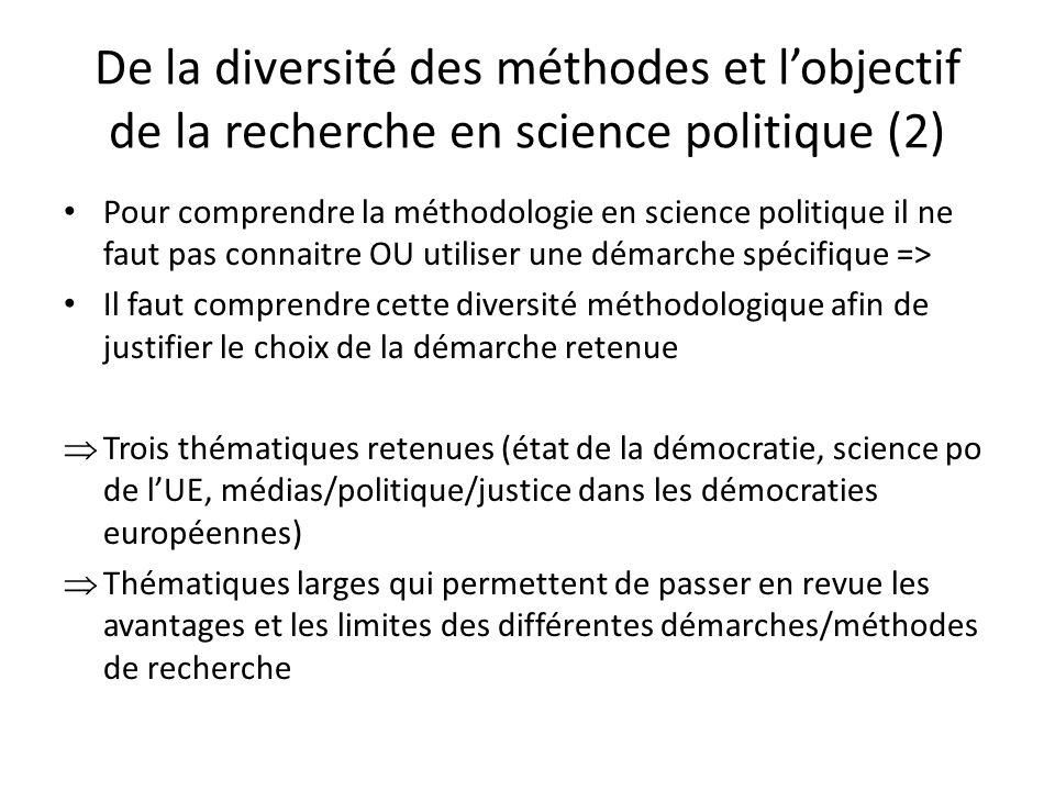 De la diversité des méthodes et lobjectif de la recherche en science politique (2) Pour comprendre la méthodologie en science politique il ne faut pas