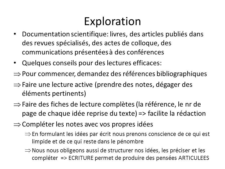 Exploration Documentation scientifique: livres, des articles publiés dans des revues spécialisés, des actes de colloque, des communications présentées