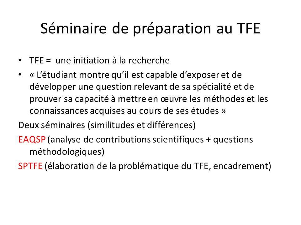 Objectifs du cours PLAN DU SEMINAIRE DISPONIBLE sur ma page, site du département (mes enseignements) http://dev.ulb.ac.be/sciencespo/fr/membres_coman-ramona.html http://dev.ulb.ac.be/sciencespo/fr/membres_coman-ramona.html Acquérir des connaissances approfondies dans un thème précis en science politique (+++EAQSP) Sinitier concrètement aux différentes méthodes, approches en science po via la lecture approfondie darticle/contributions scientifiques (+++EAQSP) Acquérir les reflexes méthodologiques nécessaires à la rédaction dun travail de fin détudes (+++EAQSP) Rédiger le PROJET de TFE (càd LE PLAN DETAILLE DU TFE)
