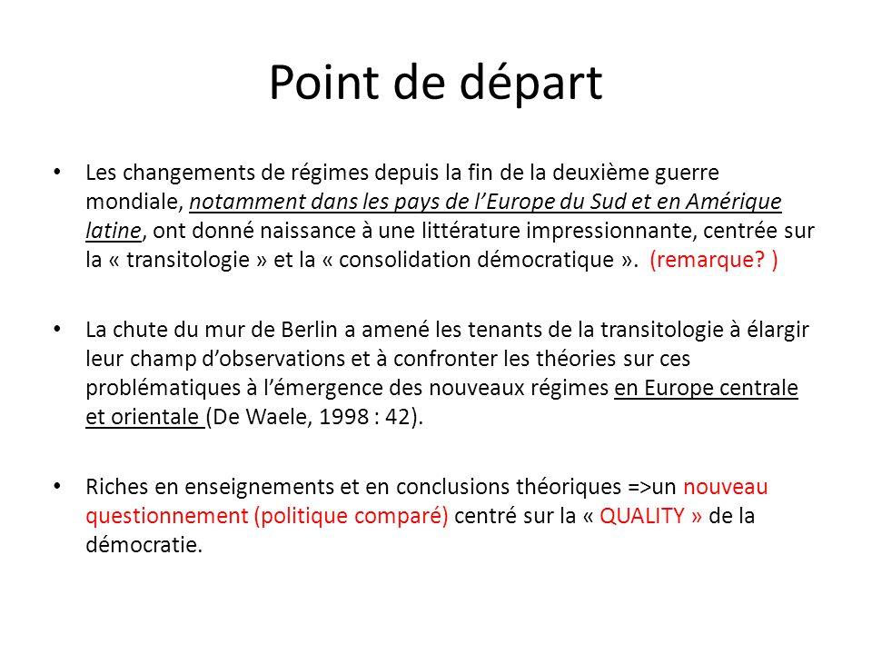 Point de départ Les changements de régimes depuis la fin de la deuxième guerre mondiale, notamment dans les pays de lEurope du Sud et en Amérique lati