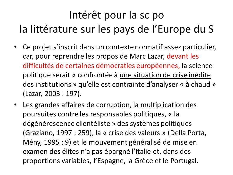 Intérêt pour la sc po la littérature sur les pays de lEurope du S Ce projet sinscrit dans un contexte normatif assez particulier, car, pour reprendre