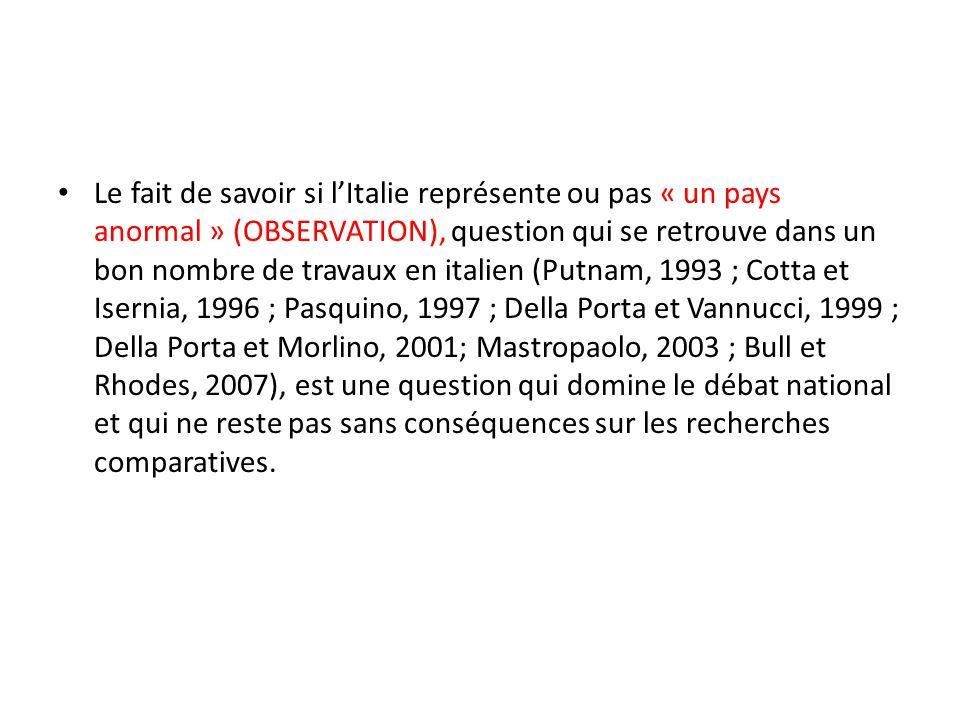 Le fait de savoir si lItalie représente ou pas « un pays anormal » (OBSERVATION), question qui se retrouve dans un bon nombre de travaux en italien (P