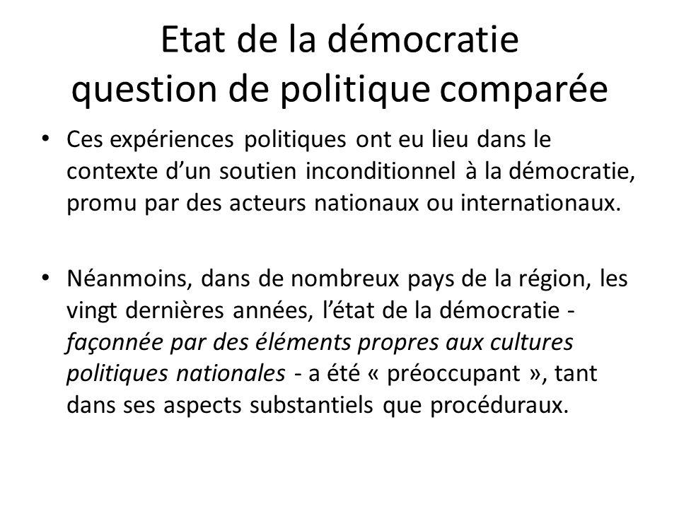 Etat de la démocratie question de politique comparée Ces expériences politiques ont eu lieu dans le contexte dun soutien inconditionnel à la démocrati
