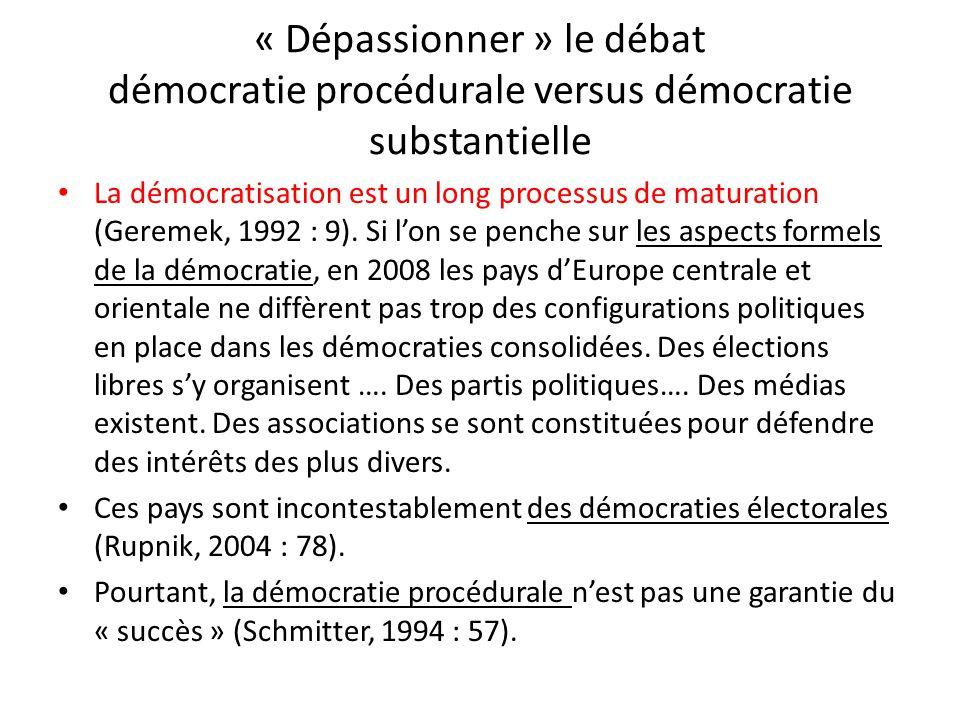 « Dépassionner » le débat démocratie procédurale versus démocratie substantielle La démocratisation est un long processus de maturation (Geremek, 1992